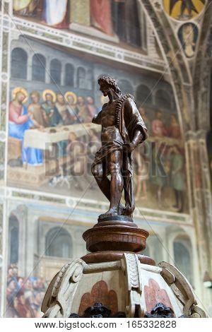 PADUA, ITALY - MAY 3, 2016: Statue of John Baptist in Baptistery of Duomo or The Cathedral of Santa Maria Assunta by Giusto de Menabuoi (1375-1376).