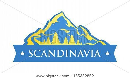 Blue Logo of Scandinavia. Emblem in Colors of Sweden. Illustration with Blue Mountains with forest and Caption on Style Ribbon.