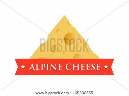 Emblem with Piece of Cheese with Holes. Sign of Alpine Diary Food Products.