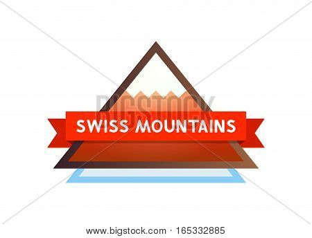Swiss Mountains - Logo with Tape and Caption. Simple Style Symbol for Travel Company.