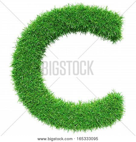 Green Grass Letter C. Isolated On White Background. Font For Your Design. 3D Illustration