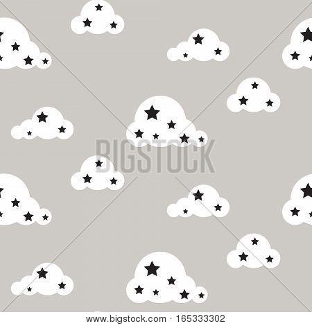 Starlight night seamless kid vector pattern. Gray background. Minimalist baby style textile fabric cartoon scandinavian ornament.