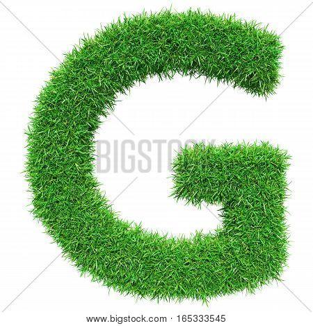 Green Grass Letter G. Isolated On White Background. Font For Your Design. 3D Illustration