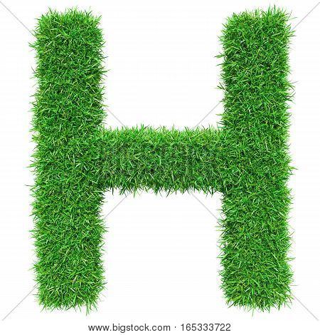 Green Grass Letter H. Isolated On White Background. Font For Your Design. 3D Illustration