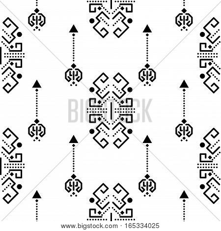 Ethnic tribal ornament seamless vector pattern. Black and white tileable aztec background.