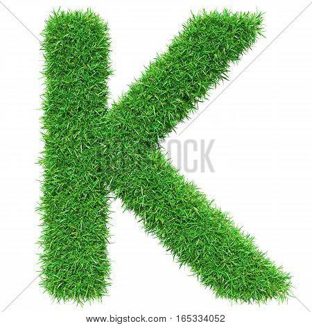 Green Grass Letter K. Isolated On White Background. Font For Your Design. 3D Illustration