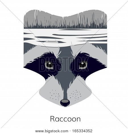 Vector cartoon raccoon head. Forest Fighter. Raccoon icon for logo web site design app UI. Animal illustration for posters greeting cards book cover flyers banner web game designs.