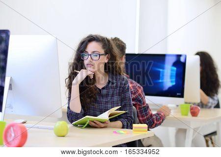 startup business, software developer working on computer at modern office.