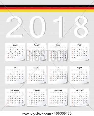 German 2018 Calendar