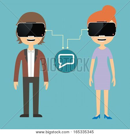 Man and woman chatting via virtual reality glasses
