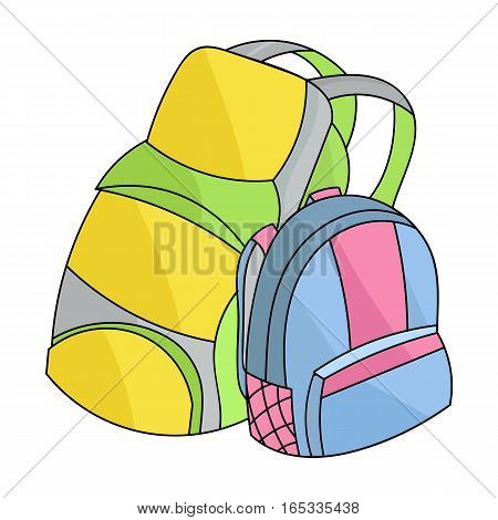 Pair of travel backpacks icon in cartoon design isolated on white background. Family holiday symbol stock vector illustration.