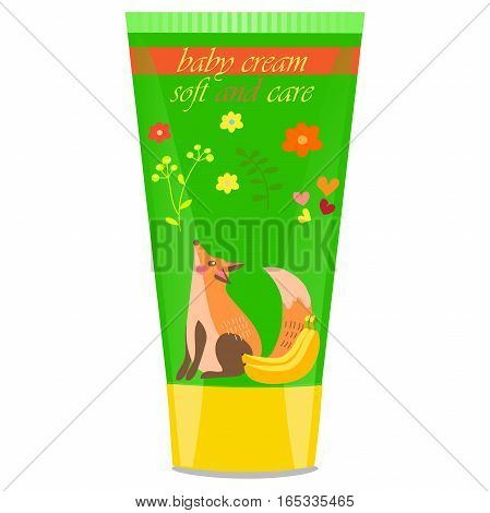 High quality original trendy vector banana Baby cream tube with kids design and fox on floral background illustration