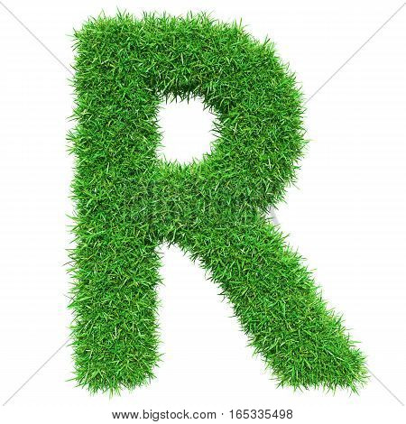 Green Grass Letter R. Isolated On White Background. Font For Your Design. 3D Illustration