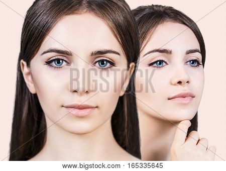 Collage of young woman faces over beige background. Spa concept.