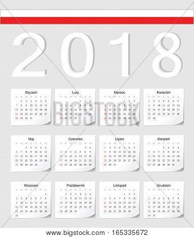 Polish 2018 Calendar