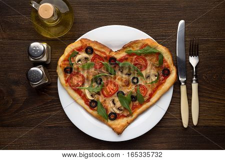 Idea Of Romantic Dish On Valentine's Day: Heart Shaped Pizza With Mushrooms And Chicken On Wooden Ba