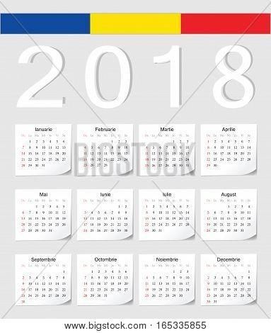 Romanian 2018 Calendar