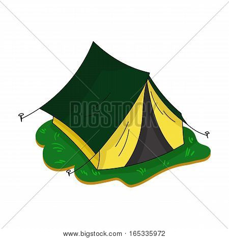 Yellow tent icon in cartoon design isolated on white background. Family holiday symbol stock vector illustration.