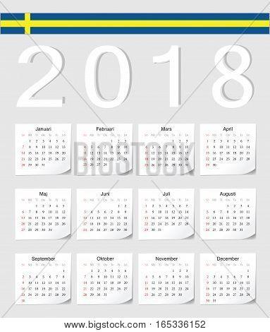 Swedish 2018 Calendar