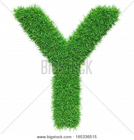 Green Grass Letter Y. Isolated On White Background. Font For Your Design. 3D Illustration