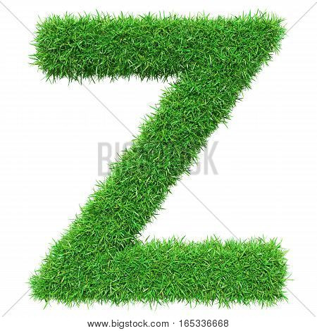 Green Grass Letter Z. Isolated On White Background. Font For Your Design. 3D Illustration