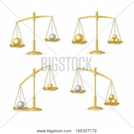 Balance Concept Set. Golden Libra or Scale Model Law, Justice and Choice. Vector illustration