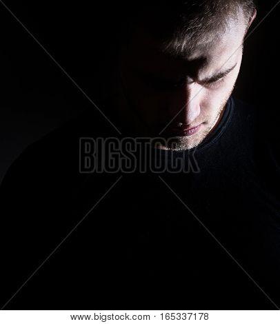 Dark Man, Guy, Profile, Male, Depression, Black And White