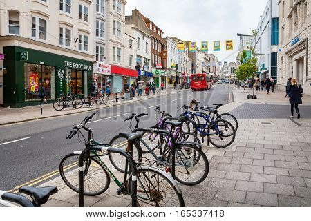 BRIGHTON EAST SUSSEX ENGLAND - JUNE 16 2013: Everyday life on the North street in city centre