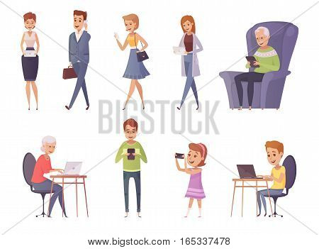 People with gadgets decorative icons set of people using phone tablet laptop in cafe and home interiors and outdoor flat isolated vector illustration