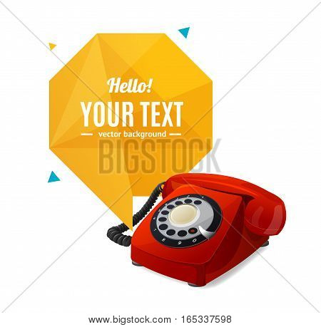 Red Rotary Telephone with Abstract Geometric Bubble Speech. Vector illustration