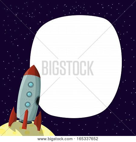 Rocket cartoon vector illustration on background with place for text