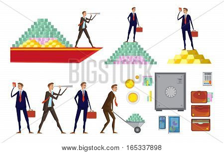 Isolated doodle images set with allusive money pyramids wallets office worker characters raising and carrying money vector illustration