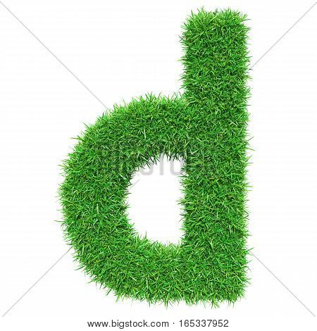 Green Grass Letter D. Isolated On White Background. Font For Your Design. 3D Illustration