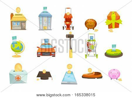 Money box isolated icons set with conceptual images of various valuable goods with slots for coins vector illustration