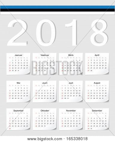 Estonian 2018 Calendar