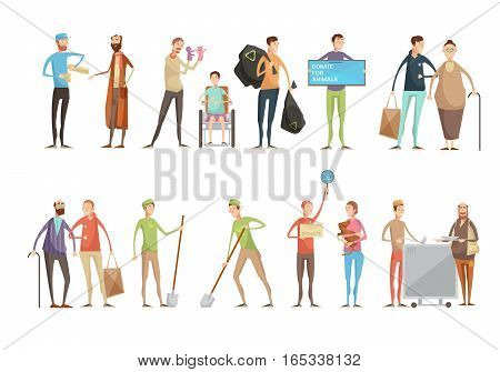 Volunteering people flat characters set with young volunteers helping animals old and disabled people planting trees vector illustration