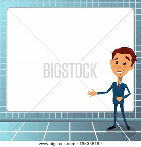 Cartoon vector illustration young businessman pointing to the lateral with nexn space