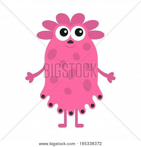 Funny girl monster with big eyes. Cute cartoon character. Pink color. Baby collection. Isolated. Happy Halloween card. White background. Flat design. Vector illustration.