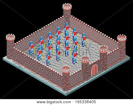 Walls,soldiers, towers and gateway. isometric view. Vector illustration.