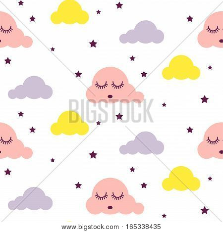 Sleepy clouds girlish seamless kid vector pattern. Pink, yellow and white background. Cute baby style textile fabric cartoon scandinavian ornament.