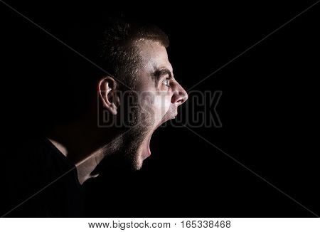 Side Portrait Of A Shouting Man, Guy, Rage Scream, Emotional Portrait.