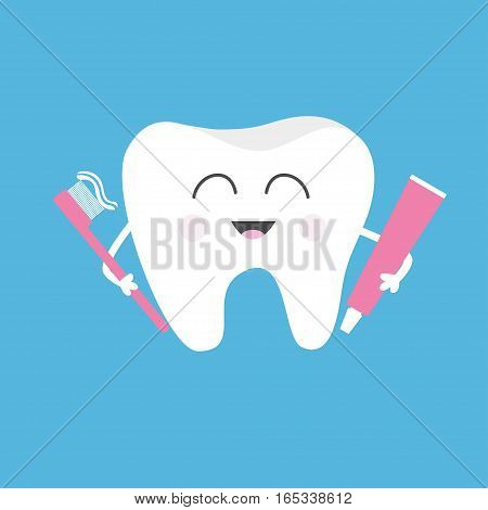 Healthy tooth holding toothpaste and toothbrush. Cute funny cartoon smiling character. Children teeth care icon. Oral dental hygiene. Baby background. Flat design. Vector illustration