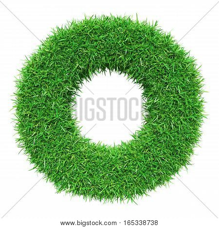 Green Grass Letter O. Isolated On White Background. Font For Your Design. 3D Illustration