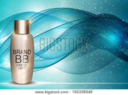 BB Cream Bottle Template for Ads or Magazine Background. 3D Realistic Vector Iillustration. EPS10