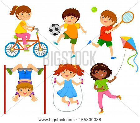 happy kids doing physical activity through play