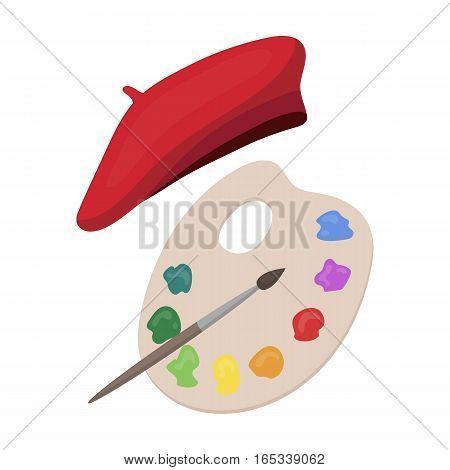 Painting palette and beret icon in cartoon design isolated on white background. France country symbol stock vector illustration.