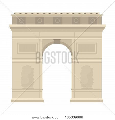 Triumphal arch icon in cartoon design isolated on white background. France country symbol stock vector illustration.