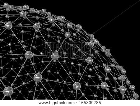 Sphere. Abstract network connection on black background. 3D illustration