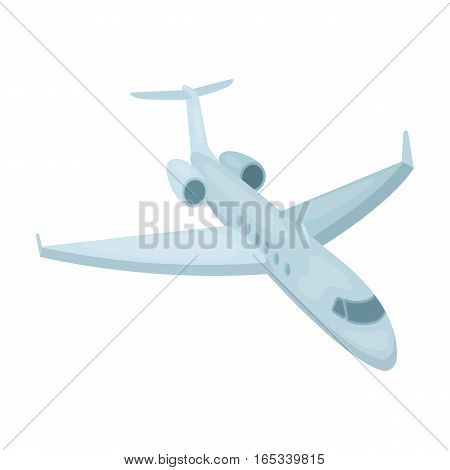 Airplane icon in cartoon design isolated on white background. Rest and travel symbol stock vector illustration.
