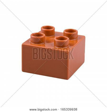 Brown cube isolated on a white background